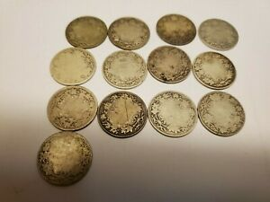 (13) Canada King George V silver 25 cent coins