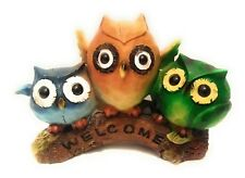Owl Set Figurine Statue Trio Welcome Blue Yellow Green Resin 8 in x 5.5 in