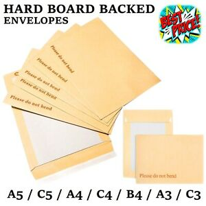 PLEASE DO NOT BEND HARD CARD BOARD BACKED ENVELOPES MANILLA BROWN C5 A5 A4 A3 A6