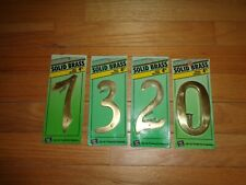 "Hy-Ko 4"" Solid Brass House Numbers 7, 3, 2, 0 - 4 Total Brass Numbers"