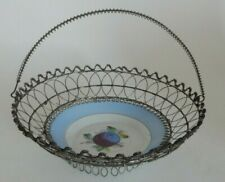 Ornate Victorian Wire Swinging Basket Bail Handle with Porcelain Plum Saucer   G