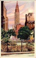 Morning Chrysler Building New York artist Van Der Hope ~ vintage art postcard