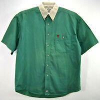 Wrangler PBR Mens Large Denim Shirt Green Short Sleeve Button Front Cotton EUC