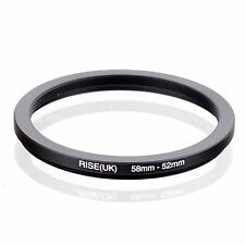 RISE(UK) 58mm-52mm 58-52 mm 58 to 52 Step down Ring Filter Adapter black