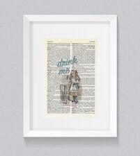 Alice In Wonderland Drink Me Vintage Dictionary Book Print Wall Art