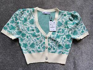 Zara Jacquard Knit Cardigan With Rhinestone Jewel Buttons Size M *NEW WITH TAGS*