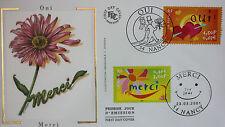 ENVELOPPE PREMIER JOUR - 9 x 16,5 cm - ANNEE 2001 - OUI MERCI