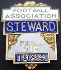 THE FOOTBALL ASSOCIATION 1928 STEWARD Badge Brooch pin 31mm x 36mm