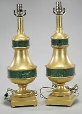 Pair of Designer Gilt-wood & Faux Malachite Lamps