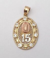 Religiuos Yellow Rose White14K Gold Small 15 Virgin Mary Pendant Charm His Her