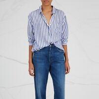 Rails Elle Blue Striped Popover Blouse Top Long Sleeve Loose Pocket Womens XS