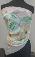 """Lovely Vintage Peach Colour Hand Painted SQUARE 100% Silk Blue Scarf 27""""x 27"""""""
