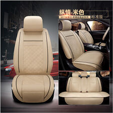 Car Seat Cover PU Leather 5-Seats Front&Rear Cushion For Cadillac Dodge