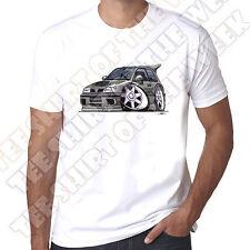 WickedArtz Cartoon Car Grey Nissan Sunny GTI-R   Mens 100% Cotton White T-shirt