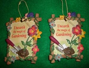 GARDENING/TWO.SMALL/CERAMIC/PLAGUES! (KITCHEN~OR~LANAI) 4.5~HEIGHT//3 1/4~WIDTH