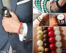 Men's Trendy Stackable Gemstone Spiritual Stretch Beaded Bracelet Layer