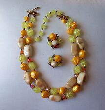 DEAUVILLE Vintage Green/Orange & Taupe Necklace & Earring Set
