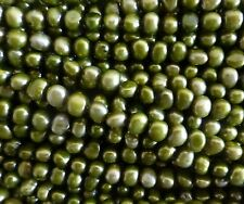 16 inch string freshwater pearls beads Olive Green 5-6mm baroque quality
