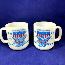 2 Vintage 1976 Glasbake Bicentennial Coffee Mugs Milk Glass Eagle USA