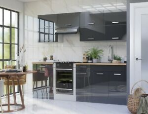 Grey High Gloss Kitchen 10 Units Cabinets Set Acrylic Legs Soft Close 240cm LUXE