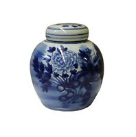 Chinese Oriental Small Blue White Porcelain Ginger Jar cs3432