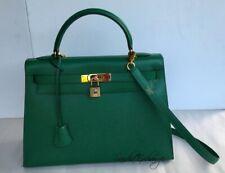 HERMES Kelly 32 cm Sellier Green Epsom Gold HW Authentic HERMÈS 1989