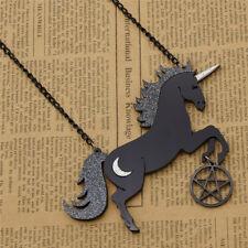 Acrylic Black Cartoon Unicorn Pendant Necklace Women's Jewelry Cute Gift