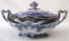 Vtg Royal Pottery Flow Blue Tureen Iris Pattern Art Nouveau Gold Blue Floral