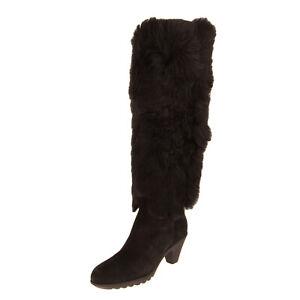 RRP €980 HOGAN Sheep Fur & Leather Knee High Boots Size 36.5 UK 4 US 6.5 Heel