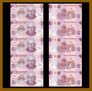 Mexico 50 Pesos (5 Pcs Uncut Sheet), 2010 P-132i Serie S Polymer