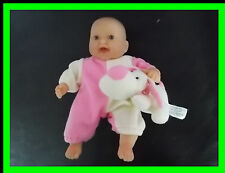 """Berenguer Huggable Puppy Love Pink White Mini Small 7"""" baby Doll Laughing Tiny"""