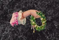 """Victorian Embossed Die Cut Scrap Lady's Hand with Wreath of White Flowers 3 x 2"""""""