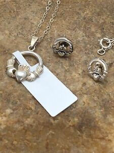 Silver Earrings Necklace Set 8993