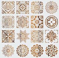 Mandala Stencil Art Set of 16 (6 x 6 inch) Laser Cut Reusable Crafts Tile