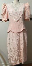 New listing Vintage Scott McClintock Prairie Victorian Lace Pink Dress Sz 12 Keyhole Back