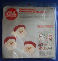 Santa Faces Ornaments Kit Felt Plastic Canvas Needlepoint Columbia Minerva 8442