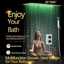 "40"" LED Rainfall Shower Heads Sets Bathroom Thermostatic Valve Faucet Bath Mixer"