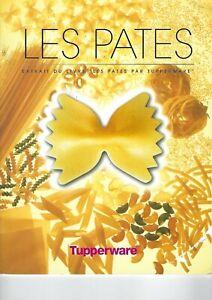 """TUPPERWARE Livre de recettes  """" Les Pates  """""""