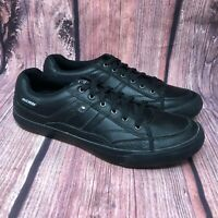 Skechers Planfix Kano Men's Black Leather Relaxed Step Sneaker Shoes Size 9.5