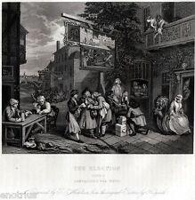 William Hogarth: The élection 2: Prospection pour votes. satire. ACCIAIO.1850