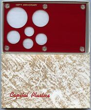Capital Plastics Happy Anniversary 6-Coin Holder Cent - Large Dollar 38.1mm Red
