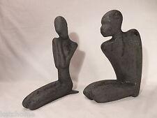 "70-80-90's? Beautiful Male & Female Ceramic  Black Nude Figures 9 12/ & 10"" tall"
