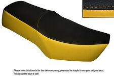 Black & Personalizado Amarillo encaja Suzuki Gn 250 87-96 Cuero Doble cubierta de asiento solamente
