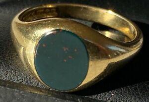 SUPERB FINE QUALITY Men's Gents Antique 18Ct Gold Signet Seal Ring - bloodstone