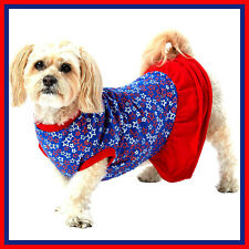 Top Paw Red Silver Blue Stars ruffle Patriotic Dog Dress S