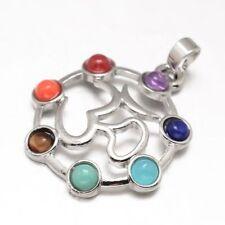 Multi-Gemstone Brass Chakra Jewelry OM Yoga Pendant