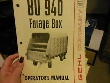 Gehl BU 940 Forage Box Wagon Operator's Owner's Manual