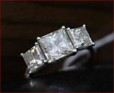 3.50Tcw Princess Cut Moissanite Three Stone Engagement Ring 14K White Gold