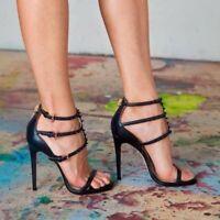 UK Ladies Rivet High Heel Sandals Peep Toe Stilettos Sexy Party Prom Shoes Pumps