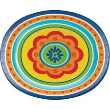 Painted Pottery 12 Inch Oval Plates 8 Pack Spring Summer Birthday Party Decor